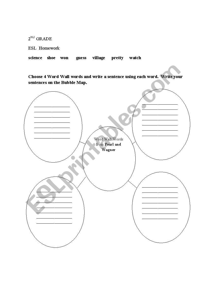 Map Worksheet 2nd Grade 2nd Grade Esl Bubble Map for Writing Sentences Using Word