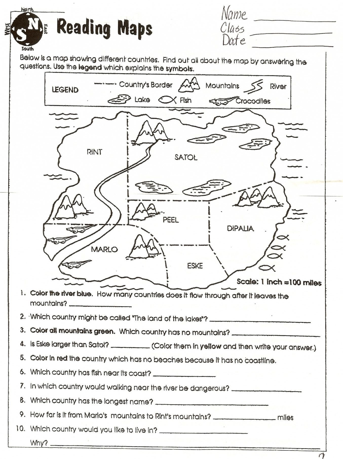 map skills worksheets to printable
