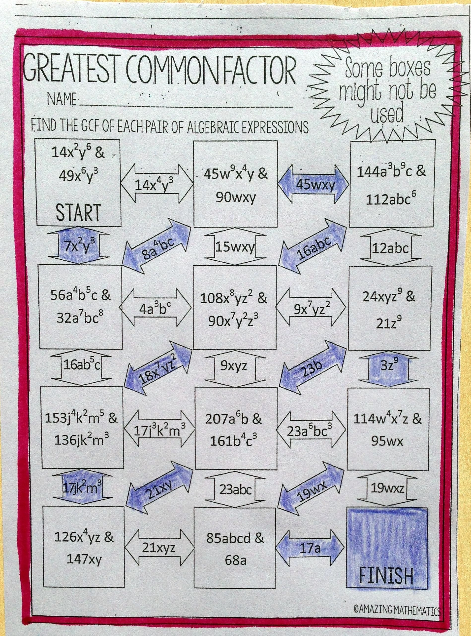 Math Aids Factors Worksheets Greatest Mon Factor Of Algebraic Expressions Maze