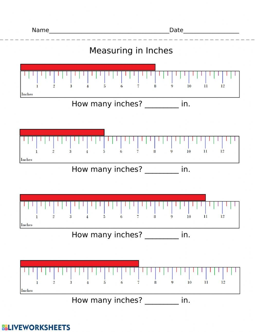 Measure Capacity Worksheet Measuring In Inches Interactive Worksheet