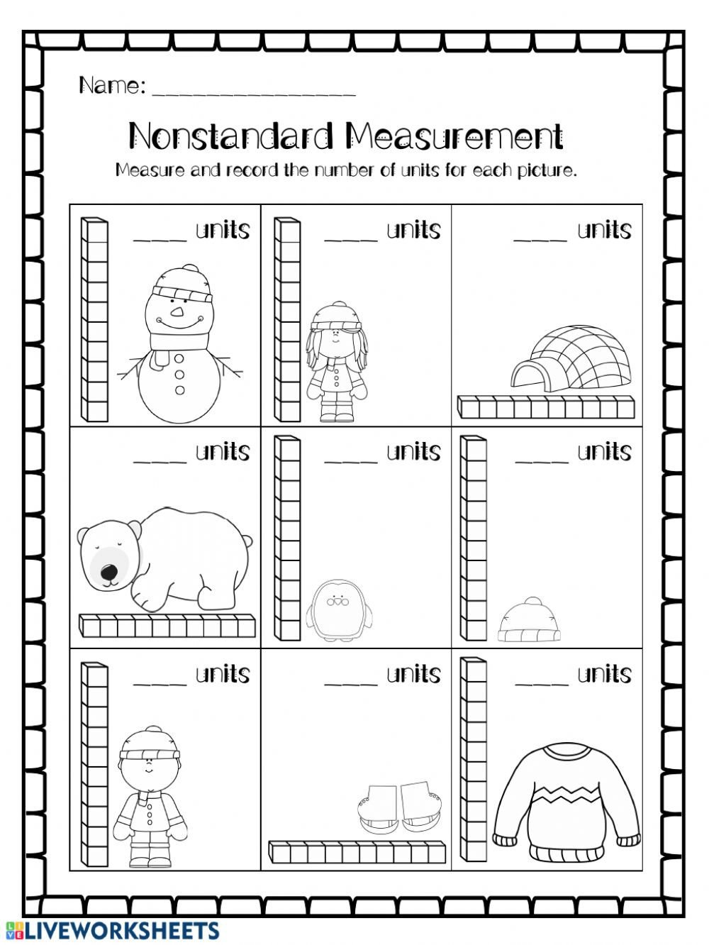 Measurement Capacity Worksheets Non Standard Unit Measurement Interactive Worksheet
