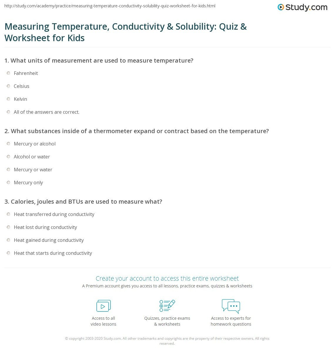 Measurement Temperature Worksheets Measuring Temperature Conductivity & solubility Quiz