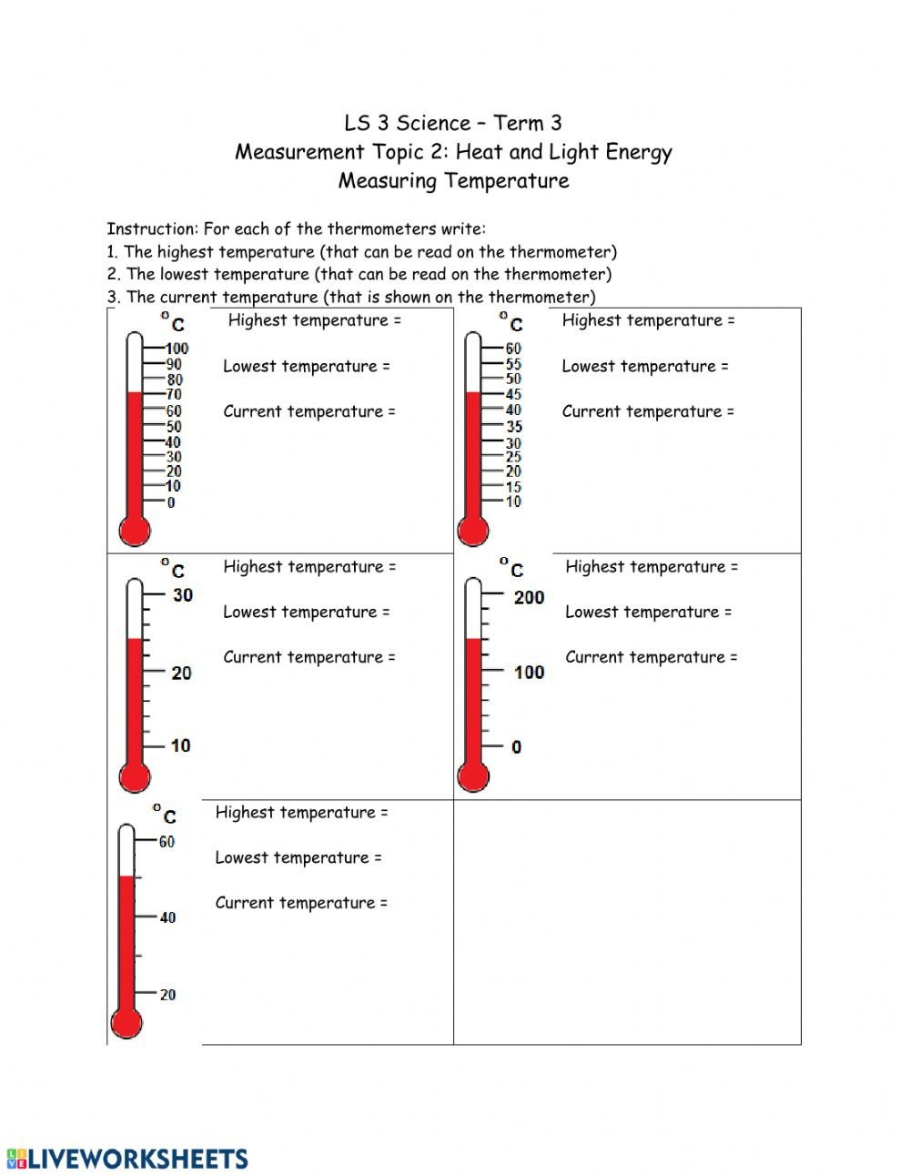 Measurement Temperature Worksheets Reading A thermometer