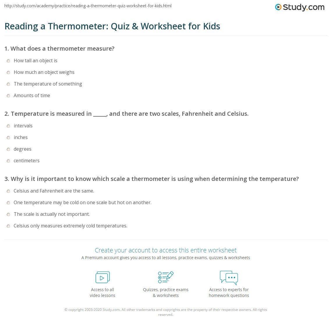 Measurement Temperature Worksheets Reading A thermometer Quiz & Worksheet for Kids