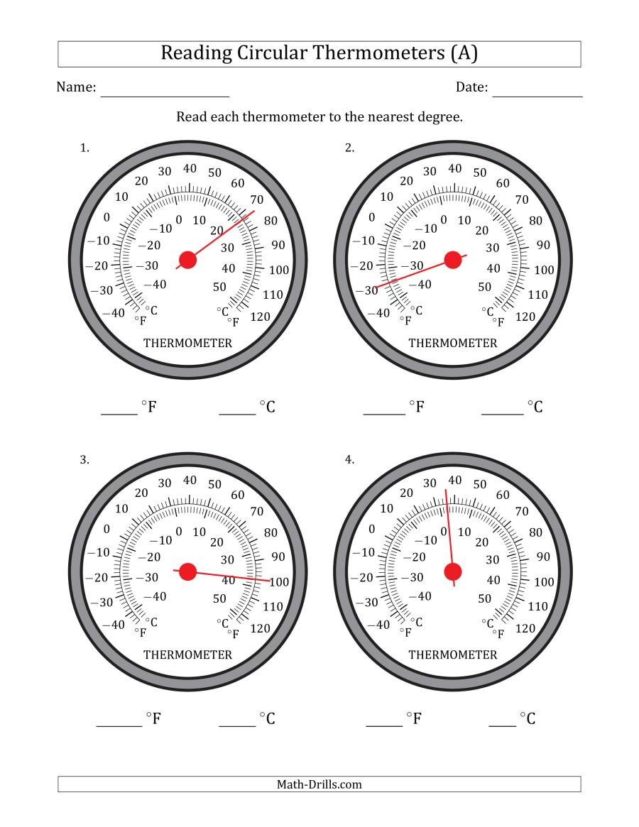 Measurement Temperature Worksheets Reading Temperatures From Circular thermometers Fahrenheit