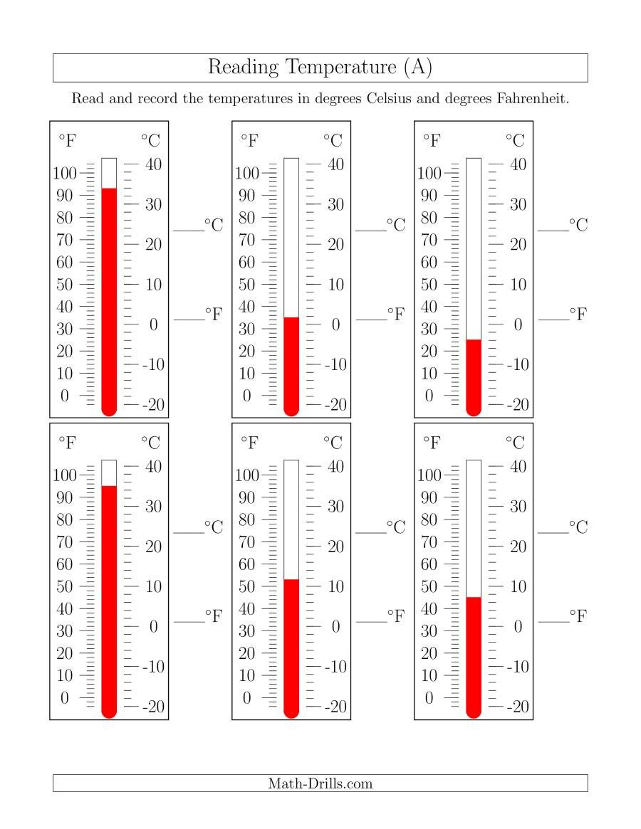 Measurement Temperature Worksheets Reading Temperatures From thermometers A