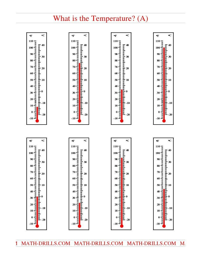 Measurement Temperature Worksheets Reading Temperatures On A thermometer A Measurement