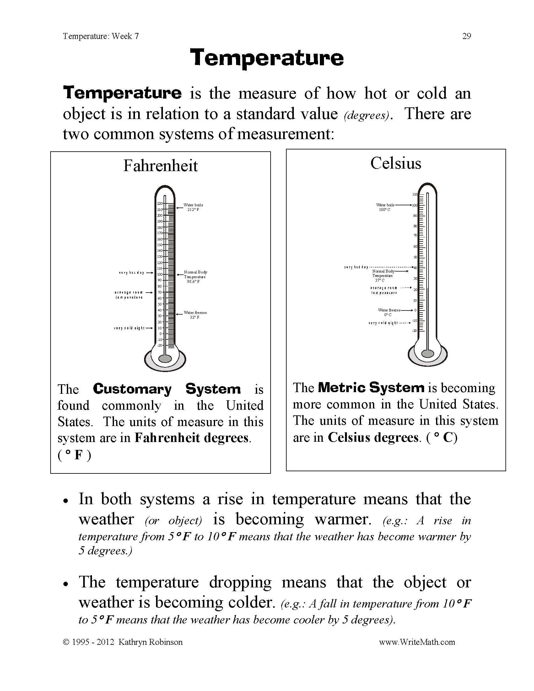 Measurement Temperature Worksheets Temperature Worksheet for 4th Grade