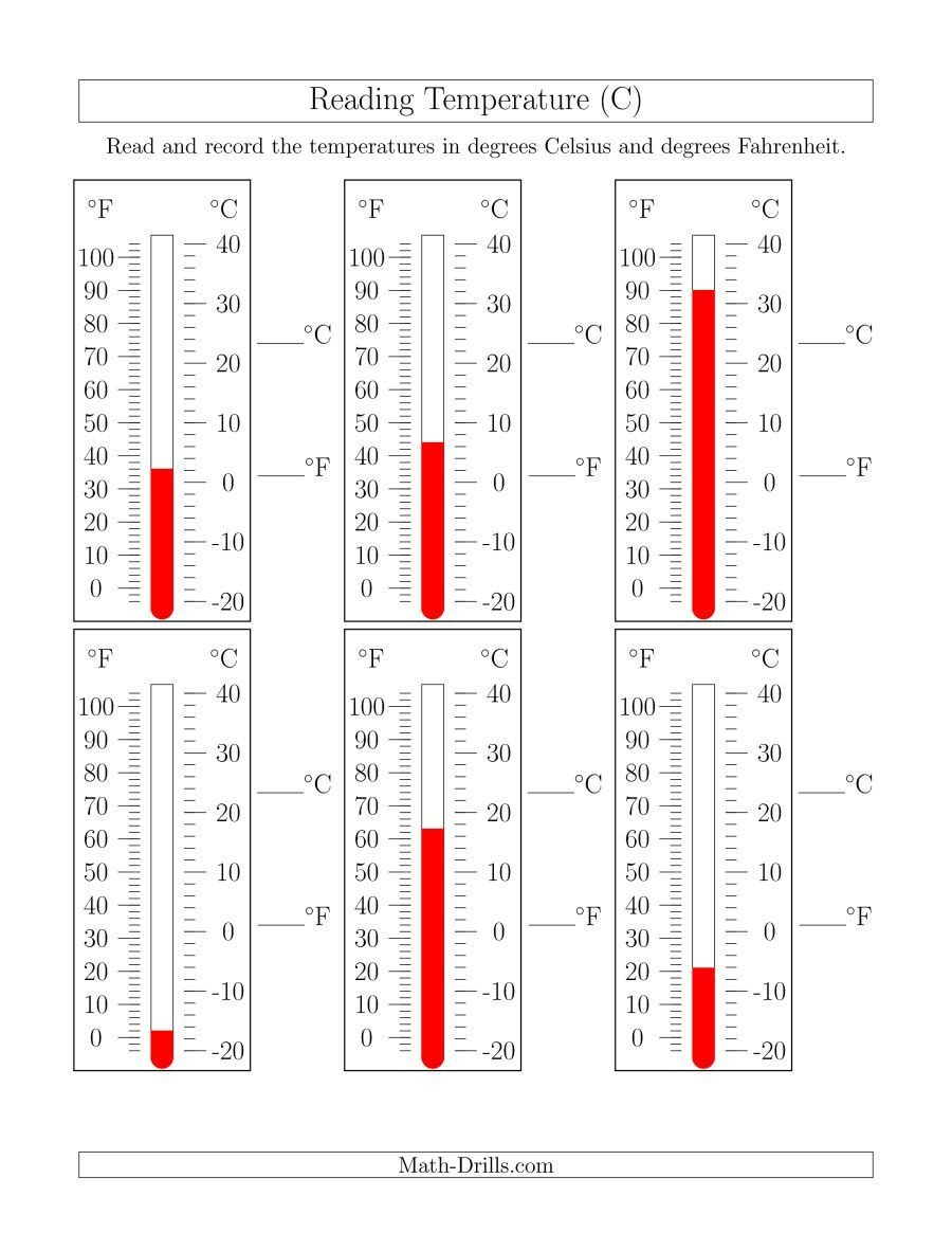 measuring temperature worksheet the reading temperatures from thermometers c math worksheet from the measurement worksheets page at math drills
