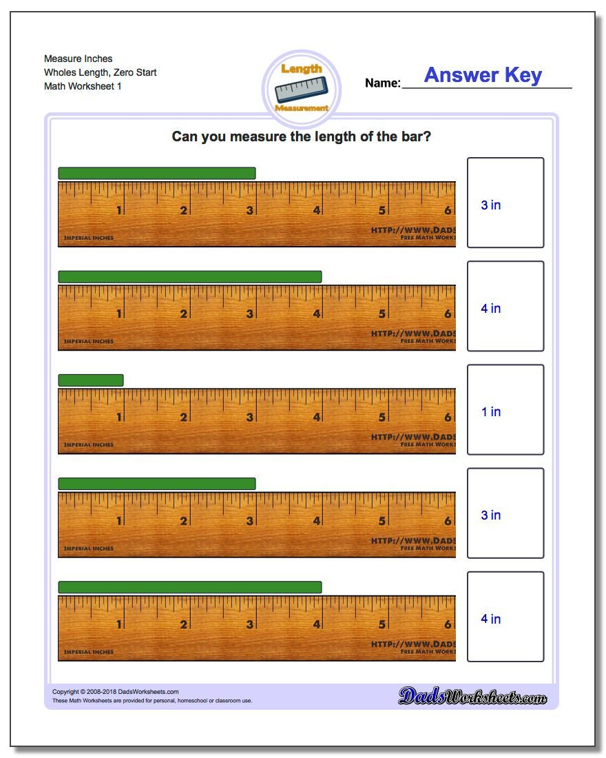 Measurement Worksheets for 3rd Grade Inches Measurement