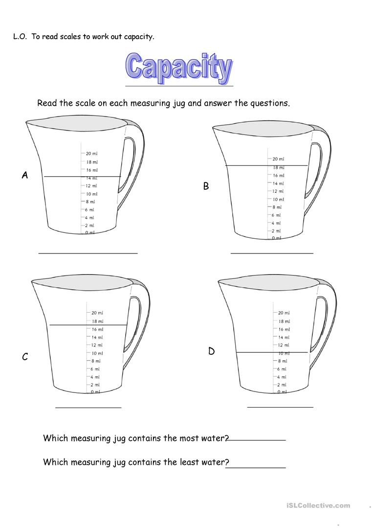 Measuring Capacity Worksheets Capacity Measuring Jugs English Esl Worksheets for