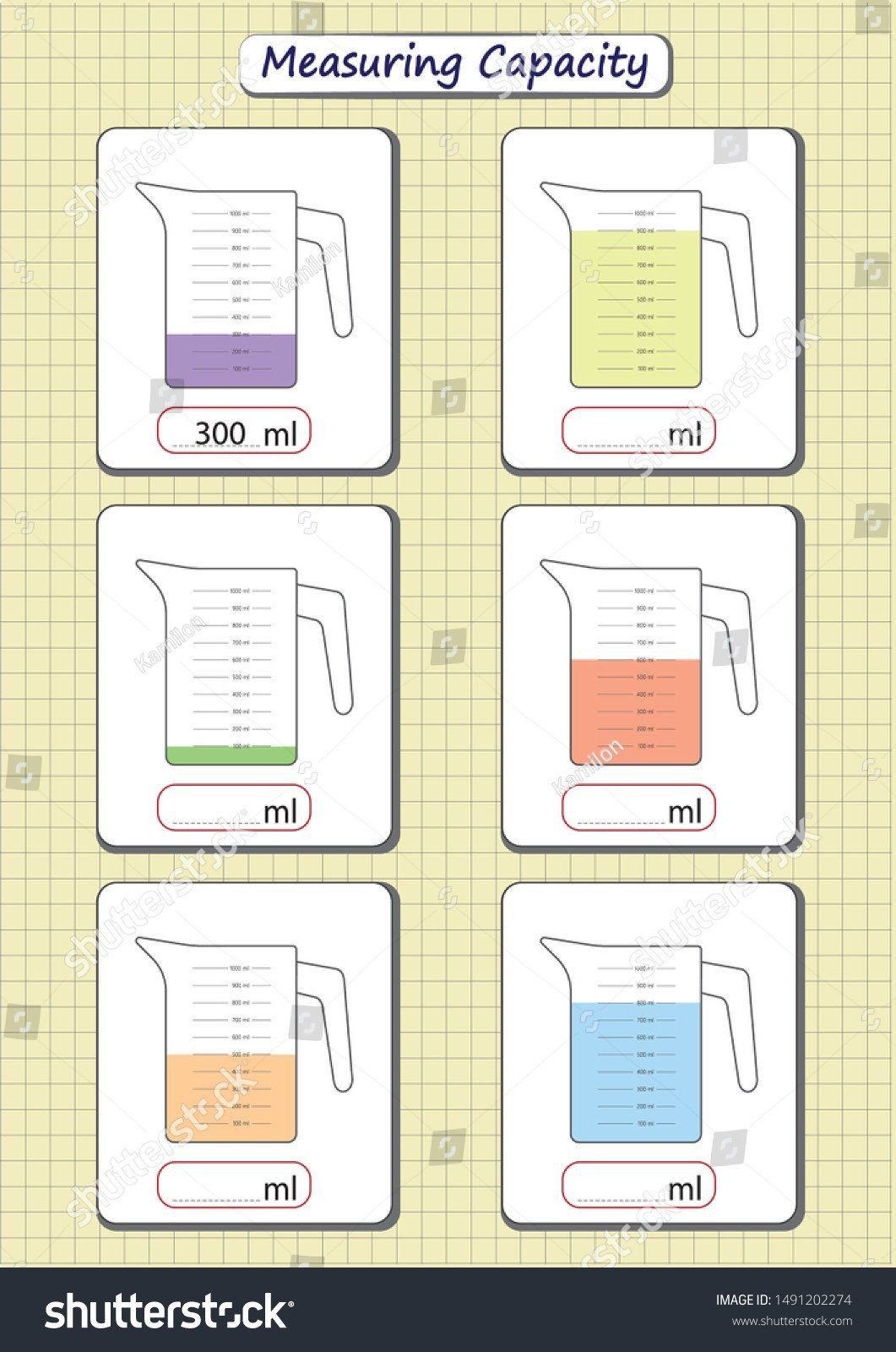Measuring Capacity Worksheets Capacity Worksheet Kindergarten