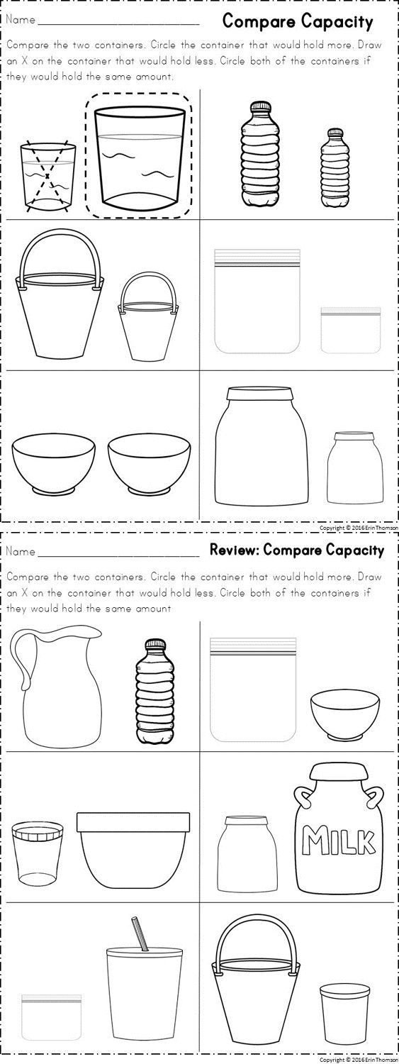 Measuring Capacity Worksheets Kindergarten Math Measurement