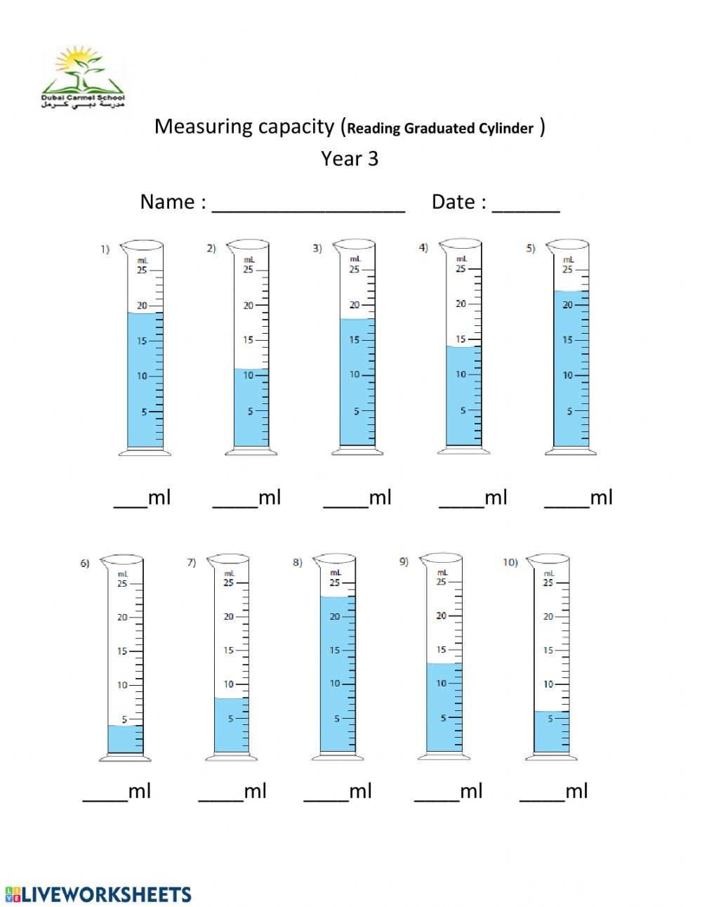 Measuring Capacity Worksheets Measuring Capacity Ml Interactive Worksheet