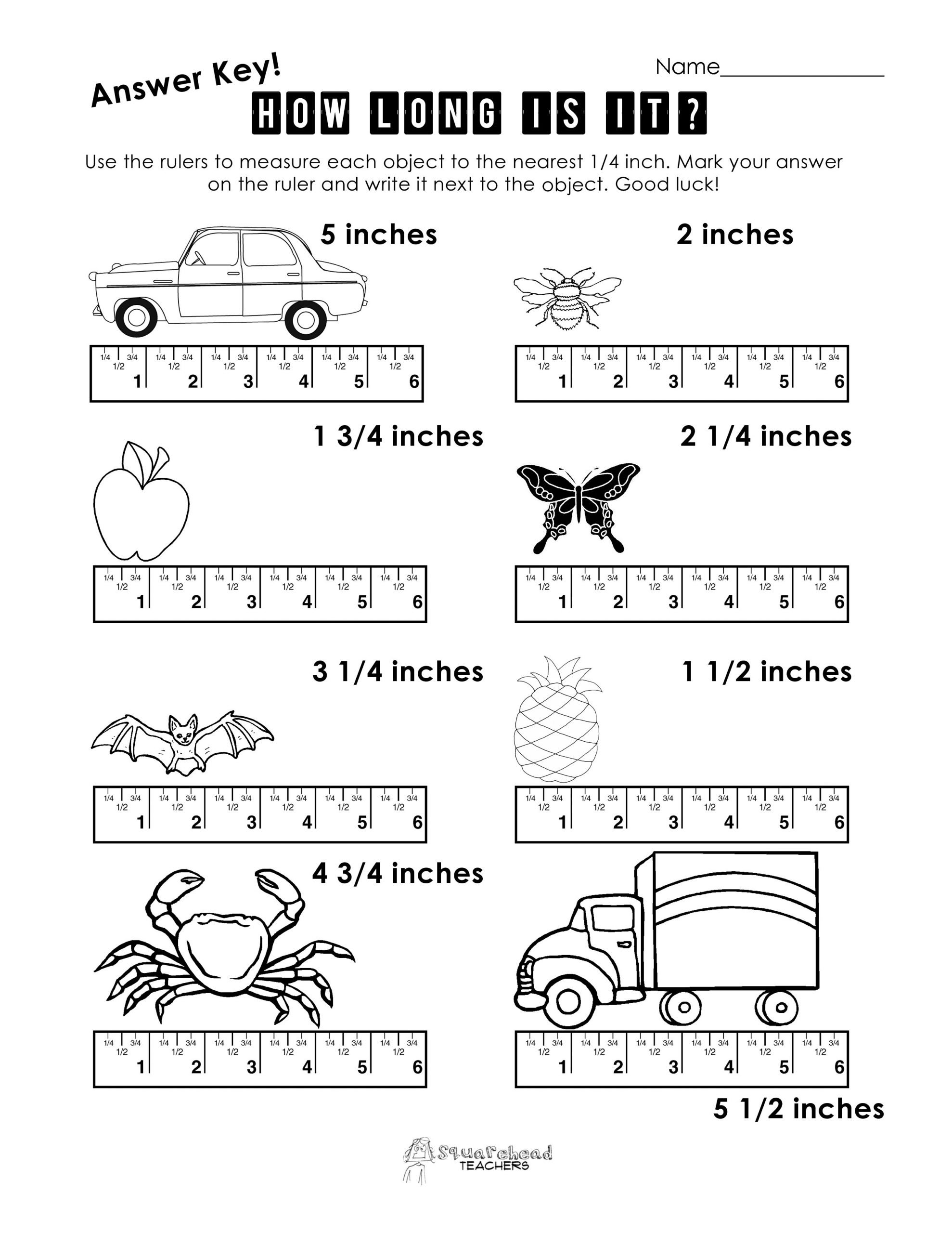 Measuring Inches Worksheets Measurement Practice 1