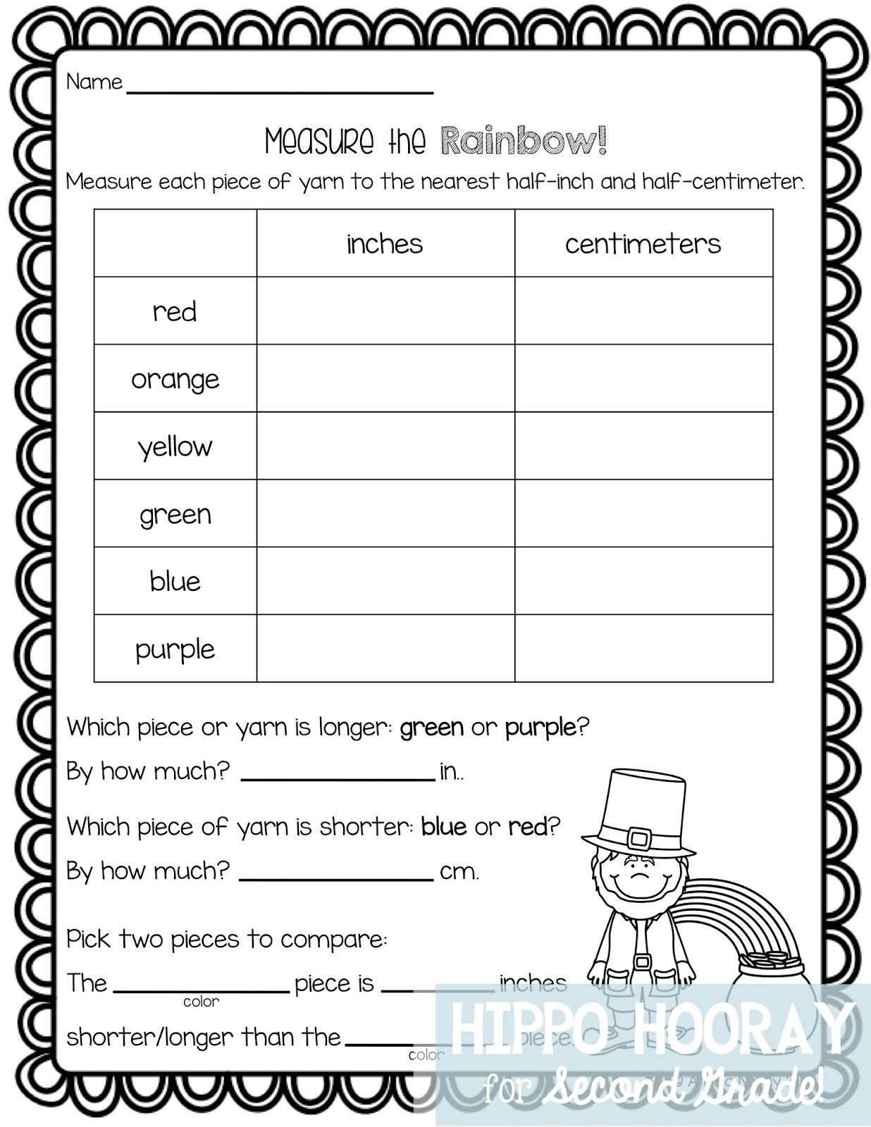 Measuring Worksheets for 2nd Grade St Patrick S Day Math Freebie