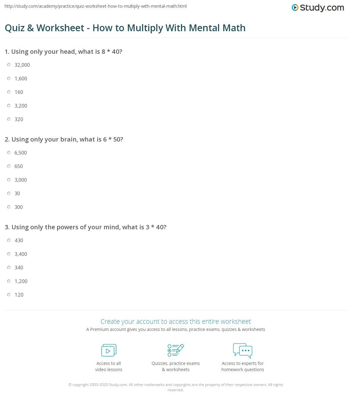 Mental Math Multiplication Worksheets Quiz & Worksheet How to Multiply with Mental Math