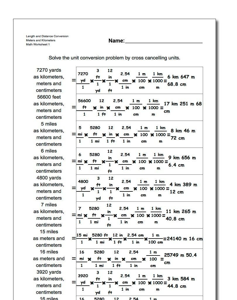 Metric and Customary Conversions Worksheets Length and Distance Conversion Worksheet Meters and