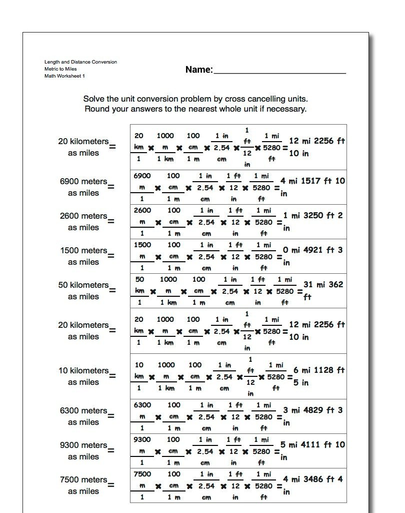 Metric and Customary Conversions Worksheets Metric to Customary Length