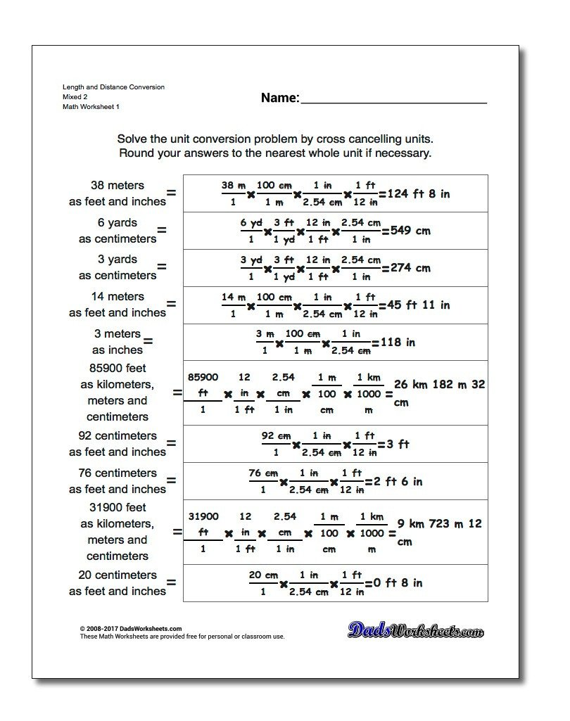 Metric and Customary Conversions Worksheets Mixed Practice