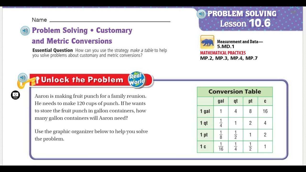 Metric Conversion Worksheets 5th Grade Go Math 5th Grade Lesson 10 6 Problem solving Customary and Metric Conversions