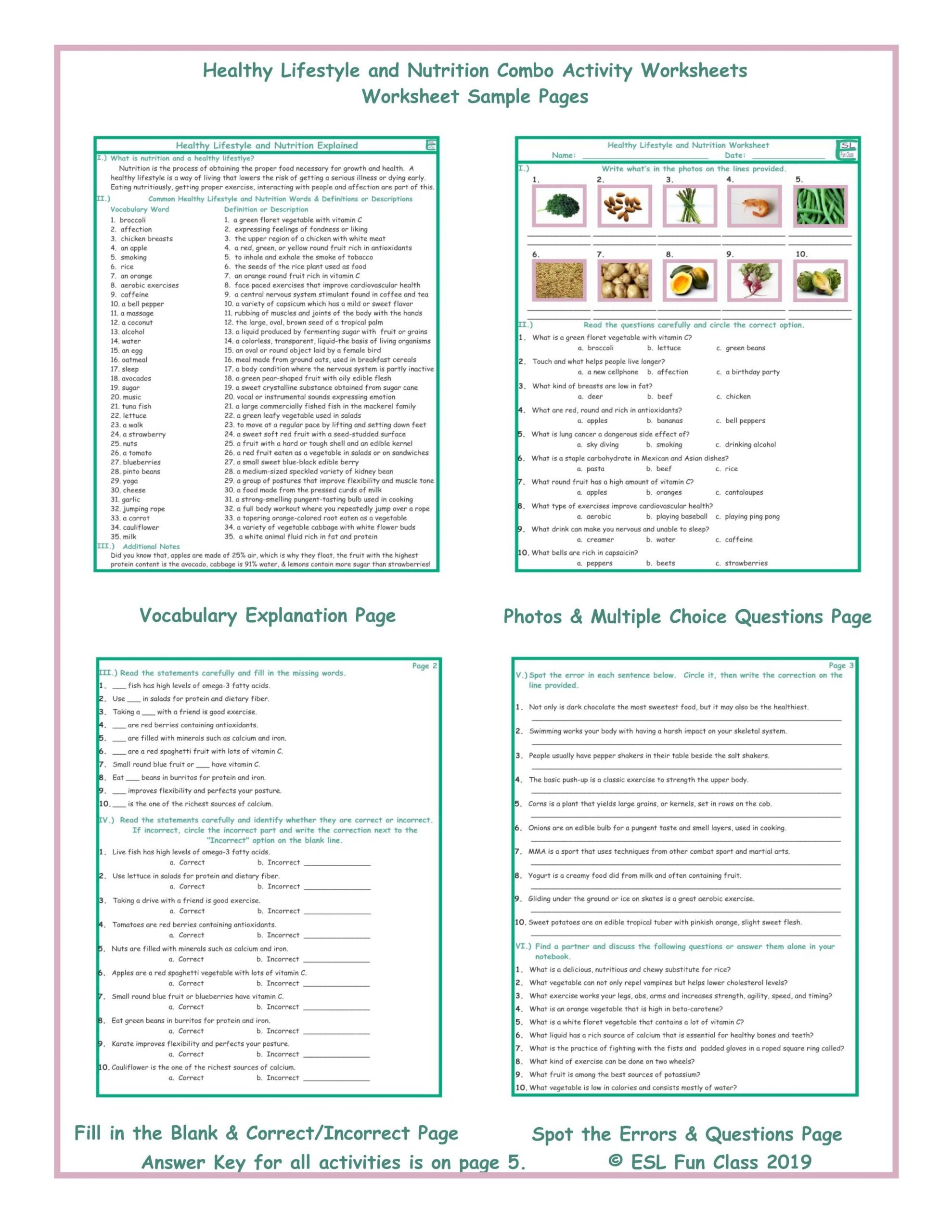 Middle School Health Worksheets Pdf Healthy Lifestyle and Nutrition Bo Activity Worksheets