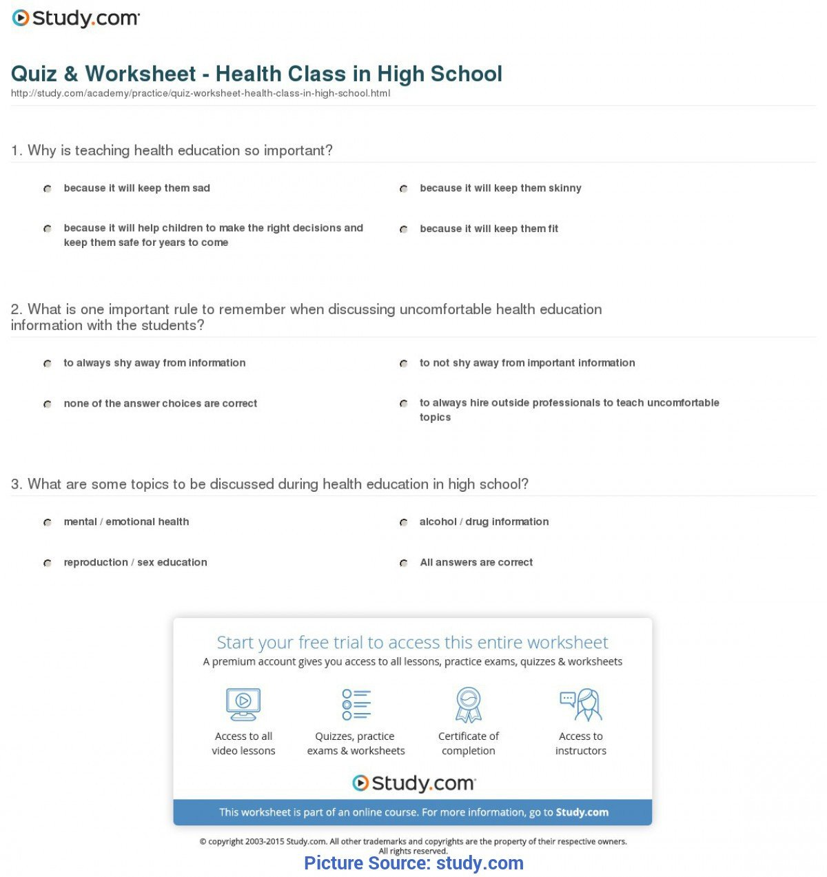 Middle School Health Worksheets Pdf Regular Lessons for High School Students Quiz & Worksheet