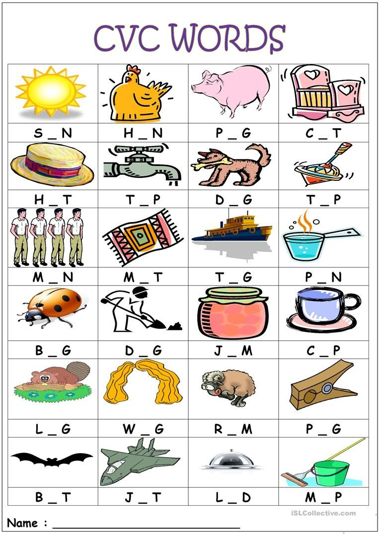Middle sound Worksheets Cvc Words Medial sounds English Esl Worksheets for