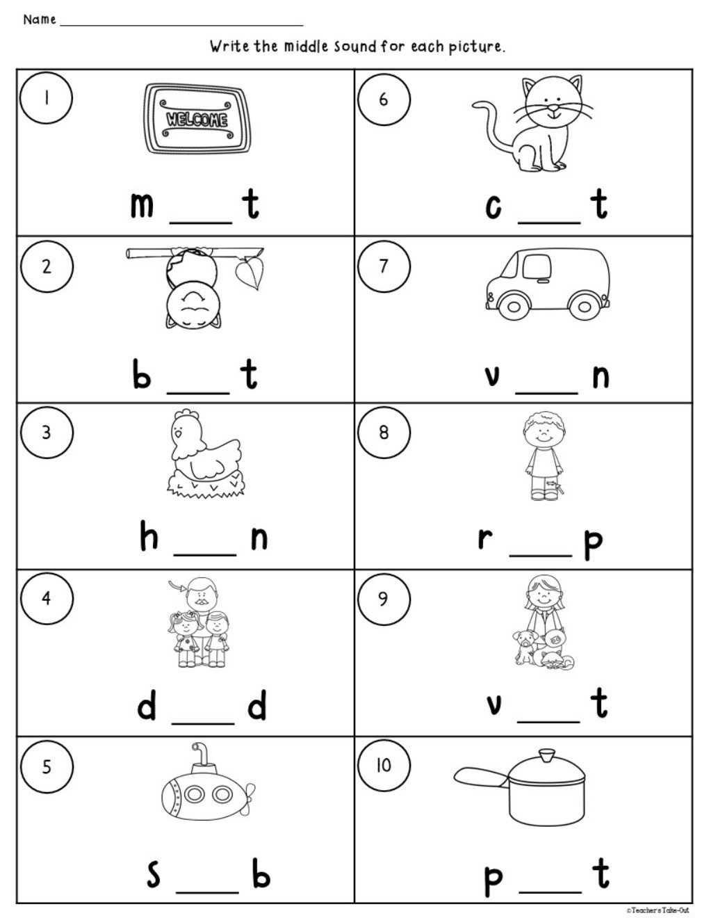 Middle sound Worksheets Cvc Worksheets Using Initial Medial and Final sounds