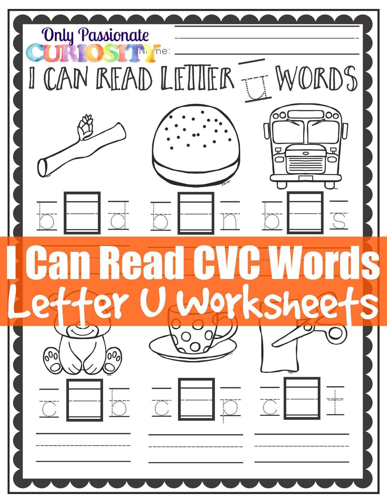 Middle sound Worksheets I Can Read Cvc Words Middle U Worksheets Ly Passionate