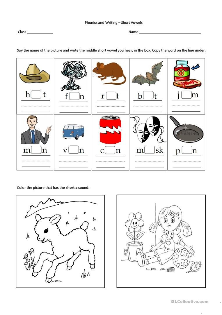 Middle sound Worksheets Middle Short Vowel A English Esl Worksheets for Distance