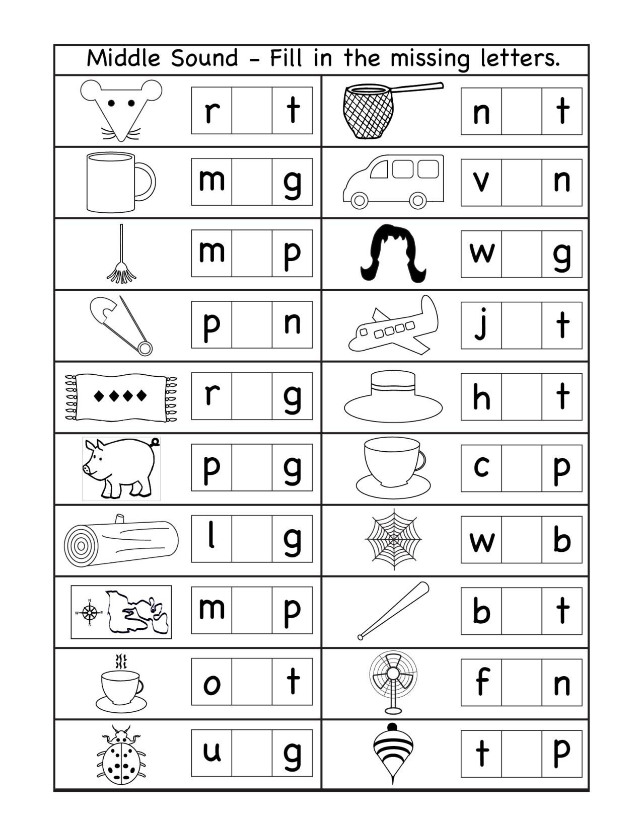 Middle sound Worksheets Middle sound Archives