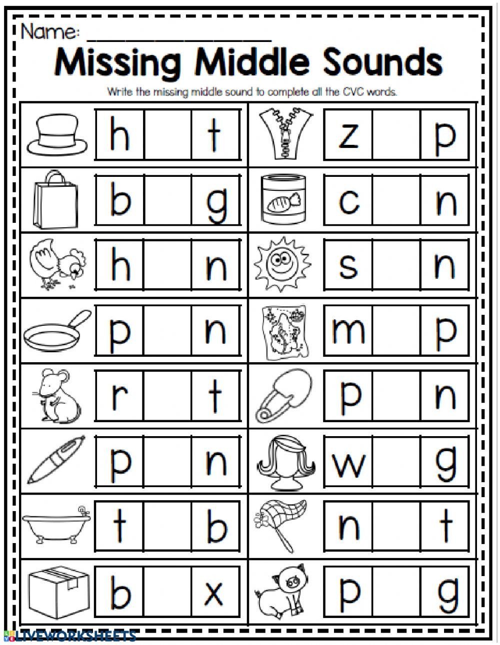 Middle sound Worksheets Missing Middle sounds Interactive Worksheet