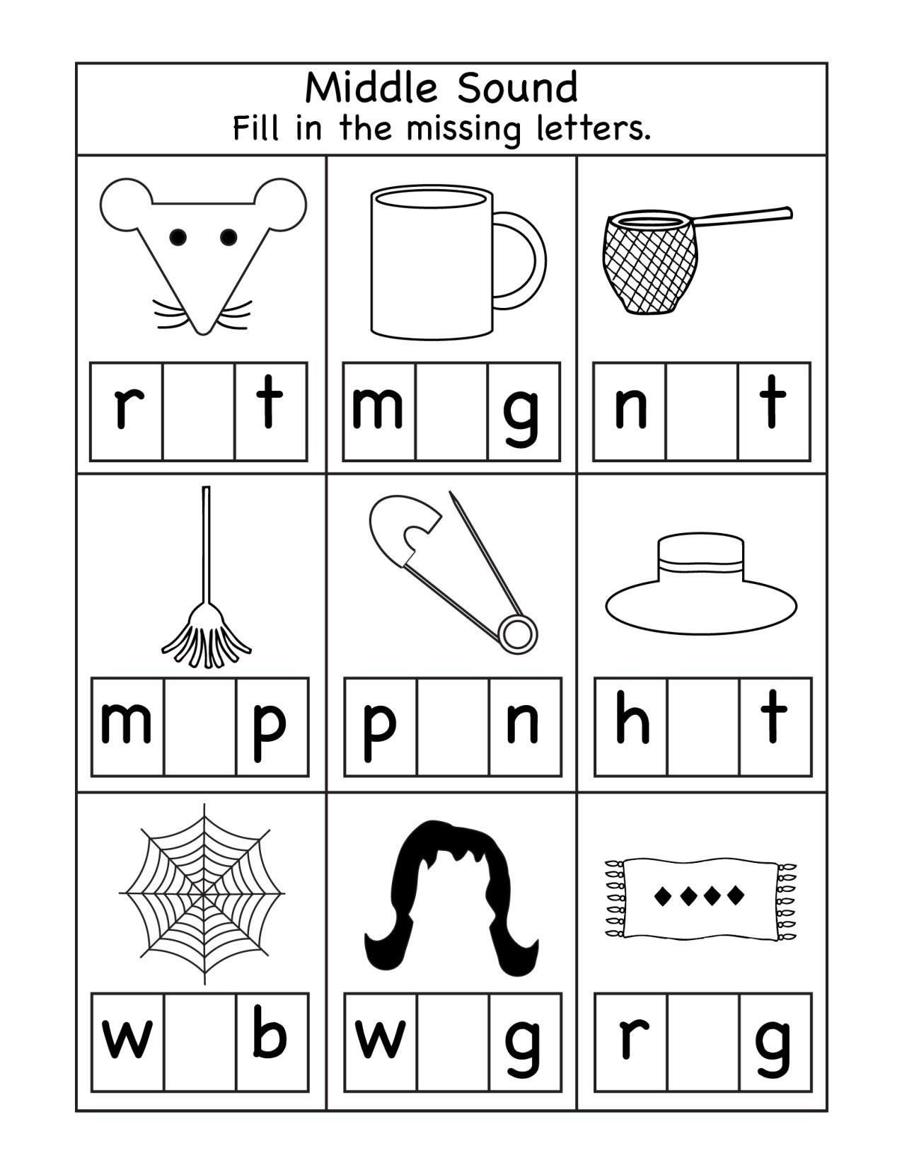 Middle sound Worksheets Pin On Printable Worksheet for Kindergarten