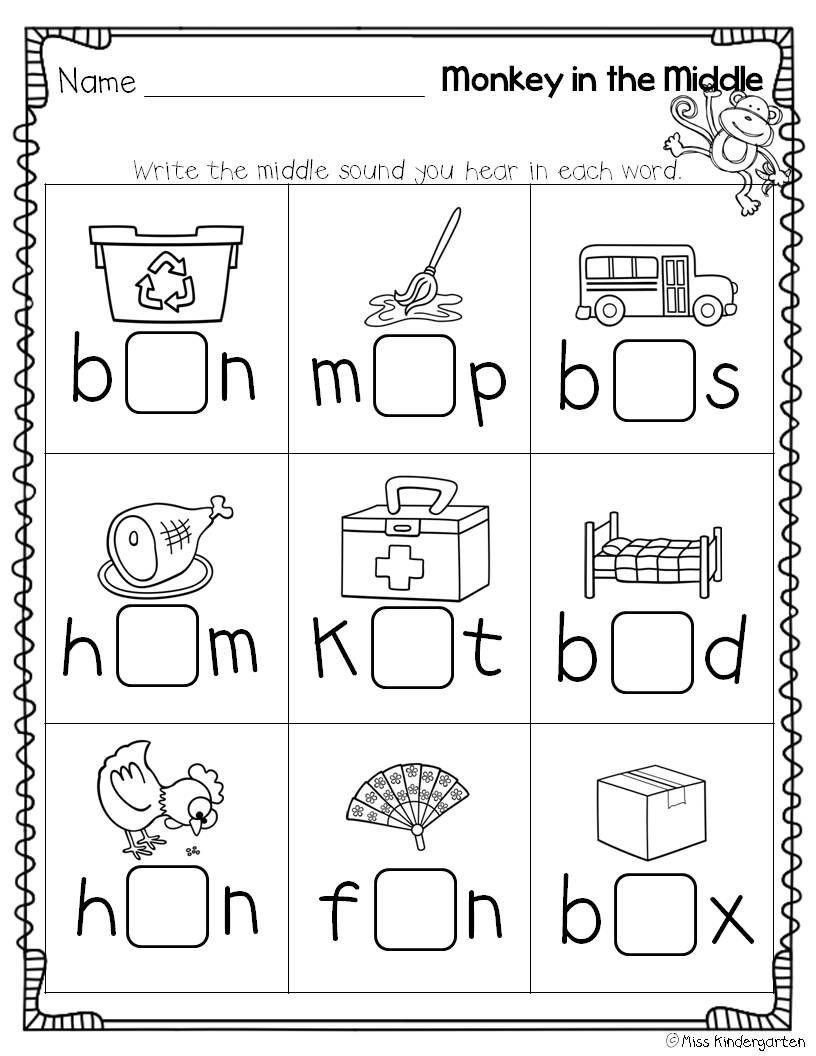 Middle sound Worksheets Super Cvc Practice Miss Kindergarten