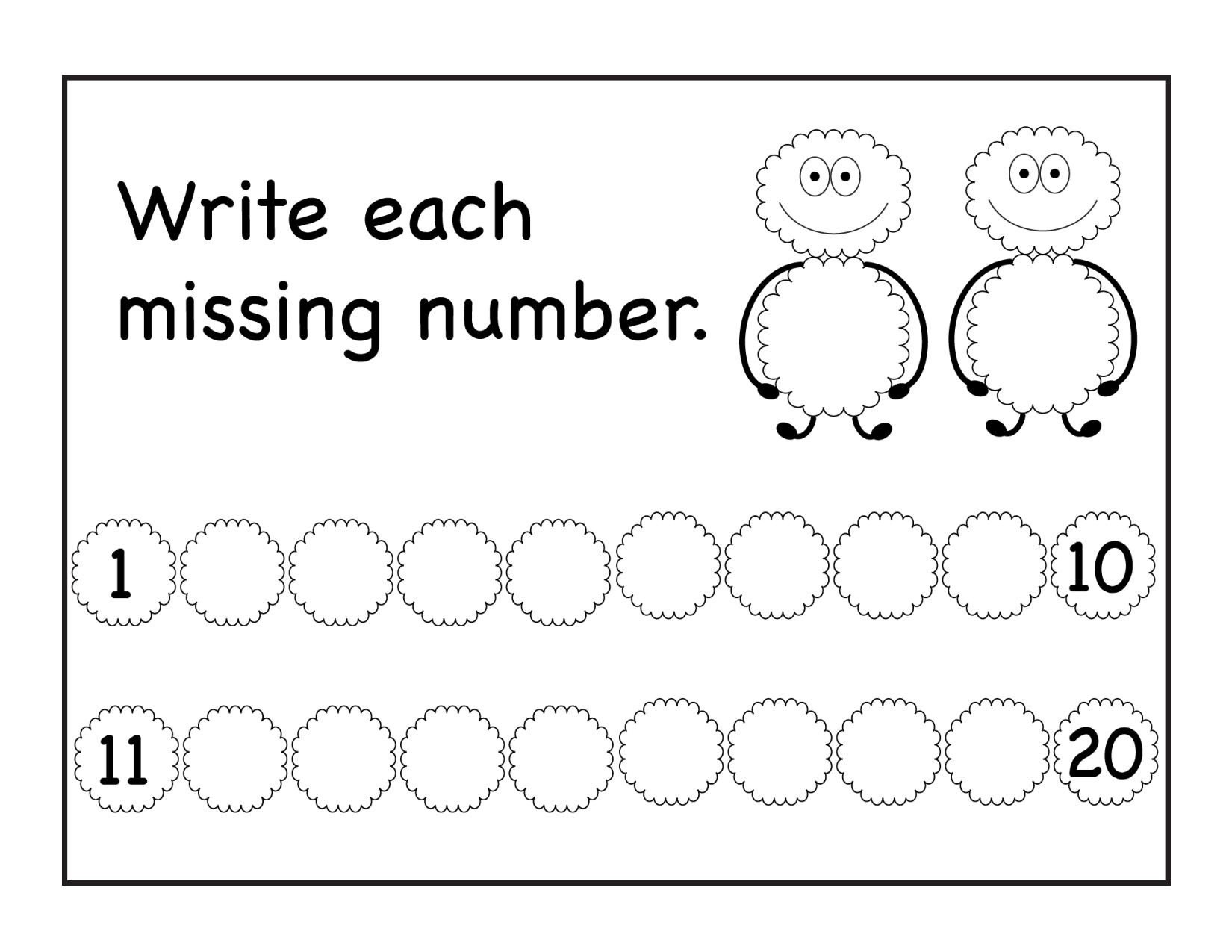 Missing Number Worksheet for Kindergarten Missing Numbers Archives