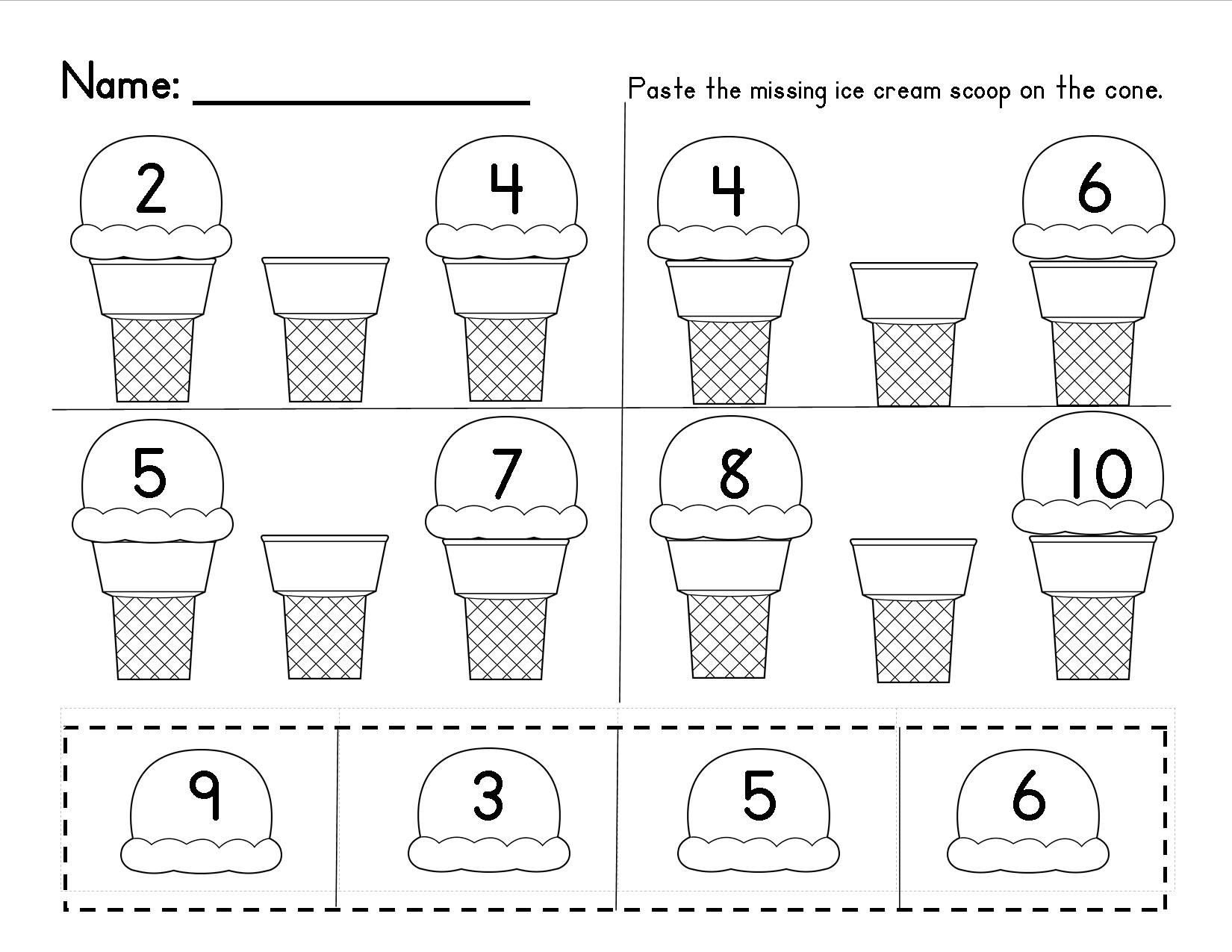 Missing Number Worksheet for Kindergarten Numbers 1 20 Cut and Paste Worksheet