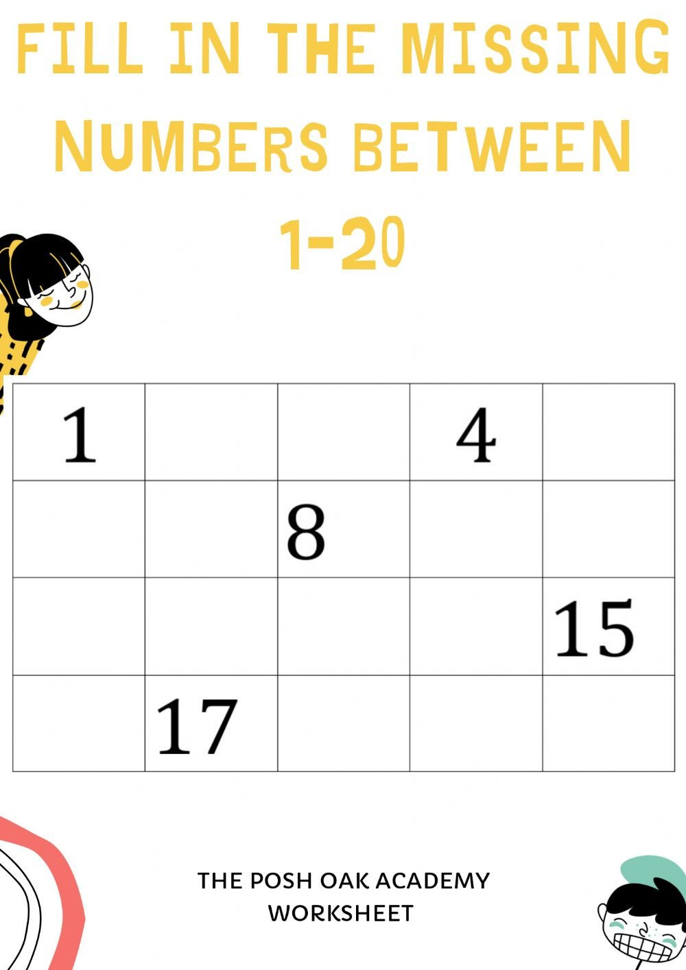 Fill in missing numbers 1 20 gy jc