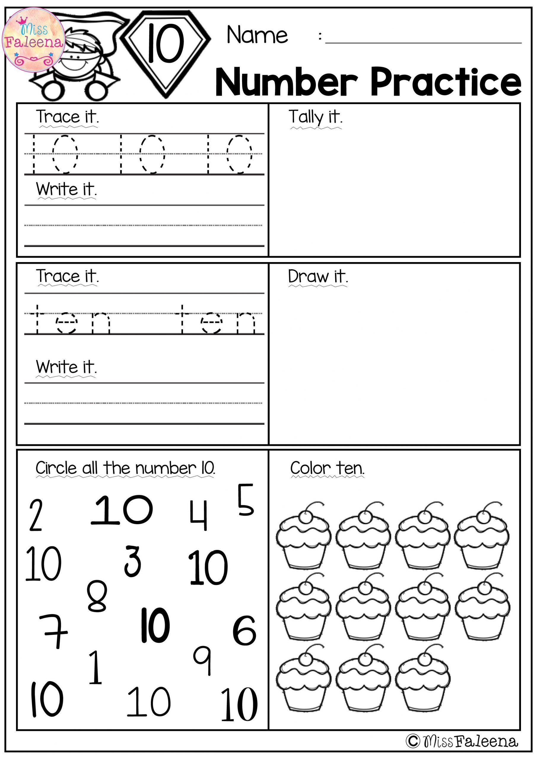 number 1 20 practice set 1 kindergarten math worksheets