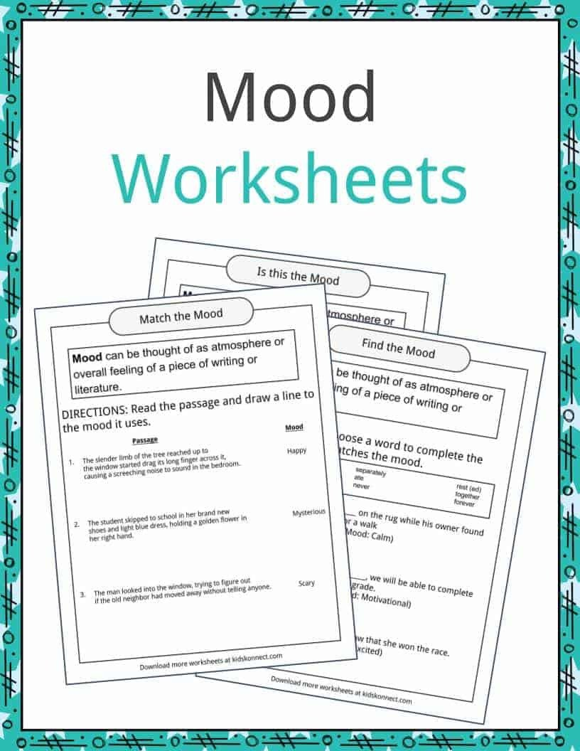 Mood and tone Practice Worksheets Mood Examples Definition and Worksheets