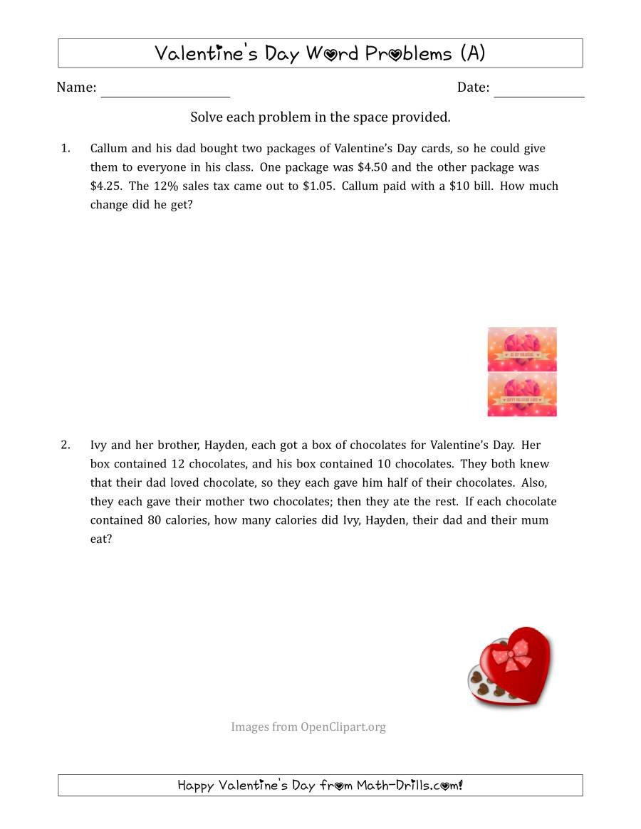 Multiple Step Word Problem Worksheets Valentine S Day Math Word Problems Multi Step A