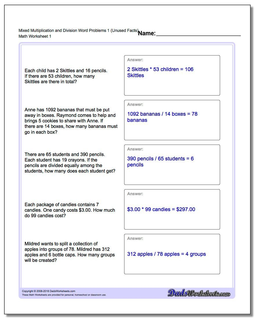 Multiple Step Word Problem Worksheets Word Problems