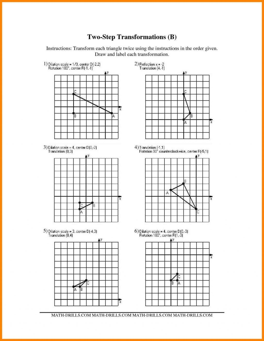 Multiple Transformations Worksheets Geometry Coloring Worksheets
