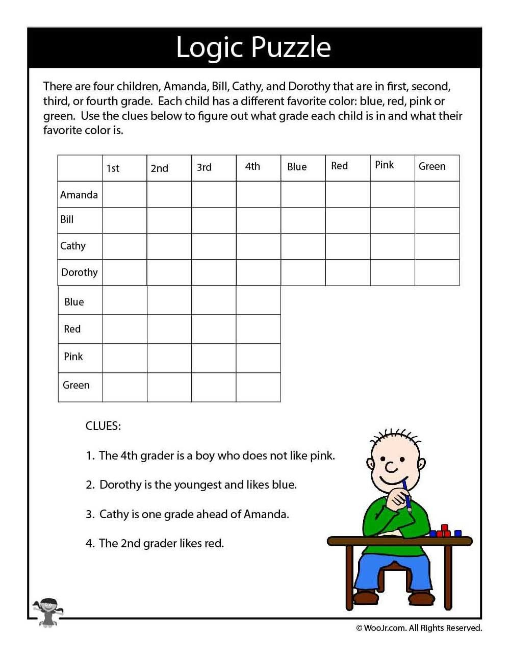 Number Grid Puzzles Worksheets Hard Logic Puzzle for Kids Puzzles Brain Worksheets