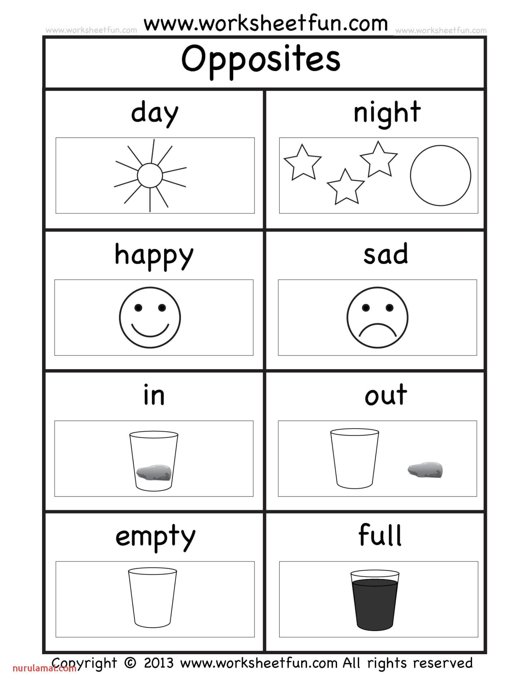 Opposites Preschool Worksheets Opposites Kindergarten Worksheets
