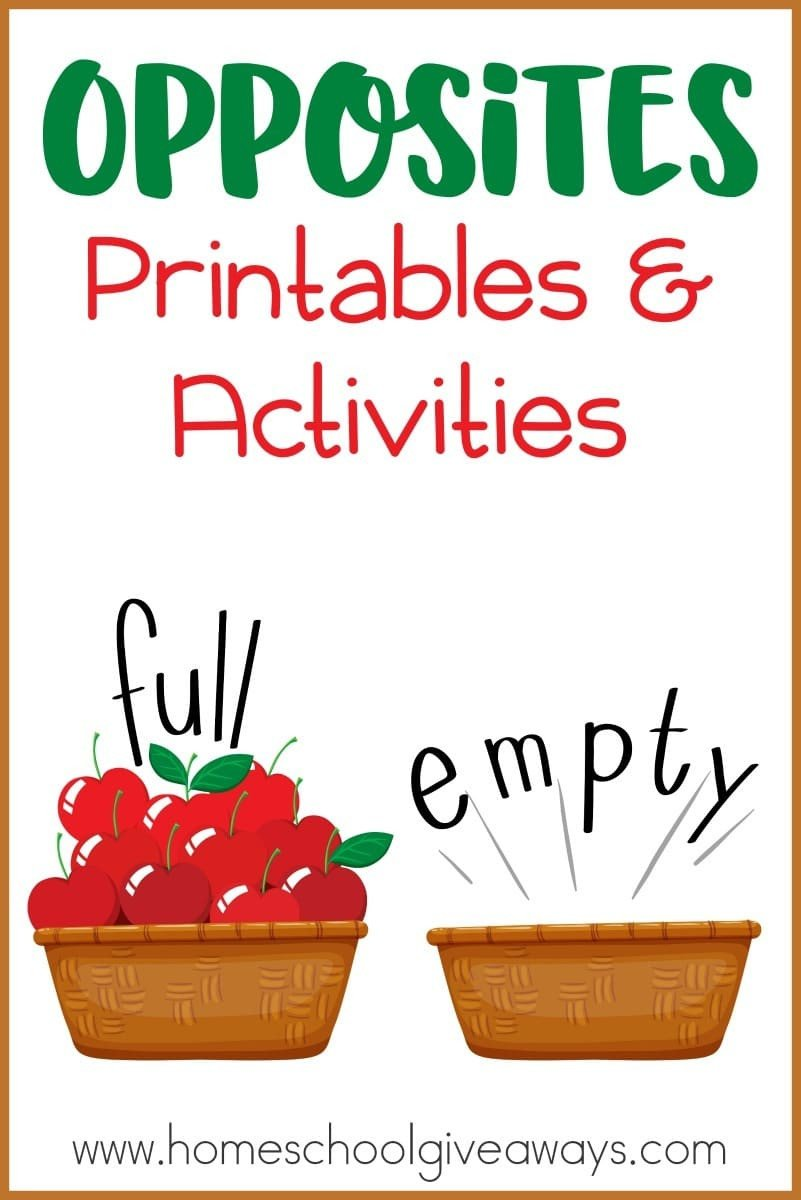 Opposites Preschool Worksheets Opposites Printables and Activities Homeschool Giveaways