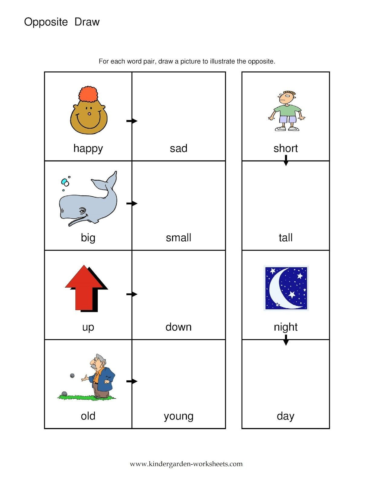 Opposites Preschool Worksheets Spanish Opposites Worksheet