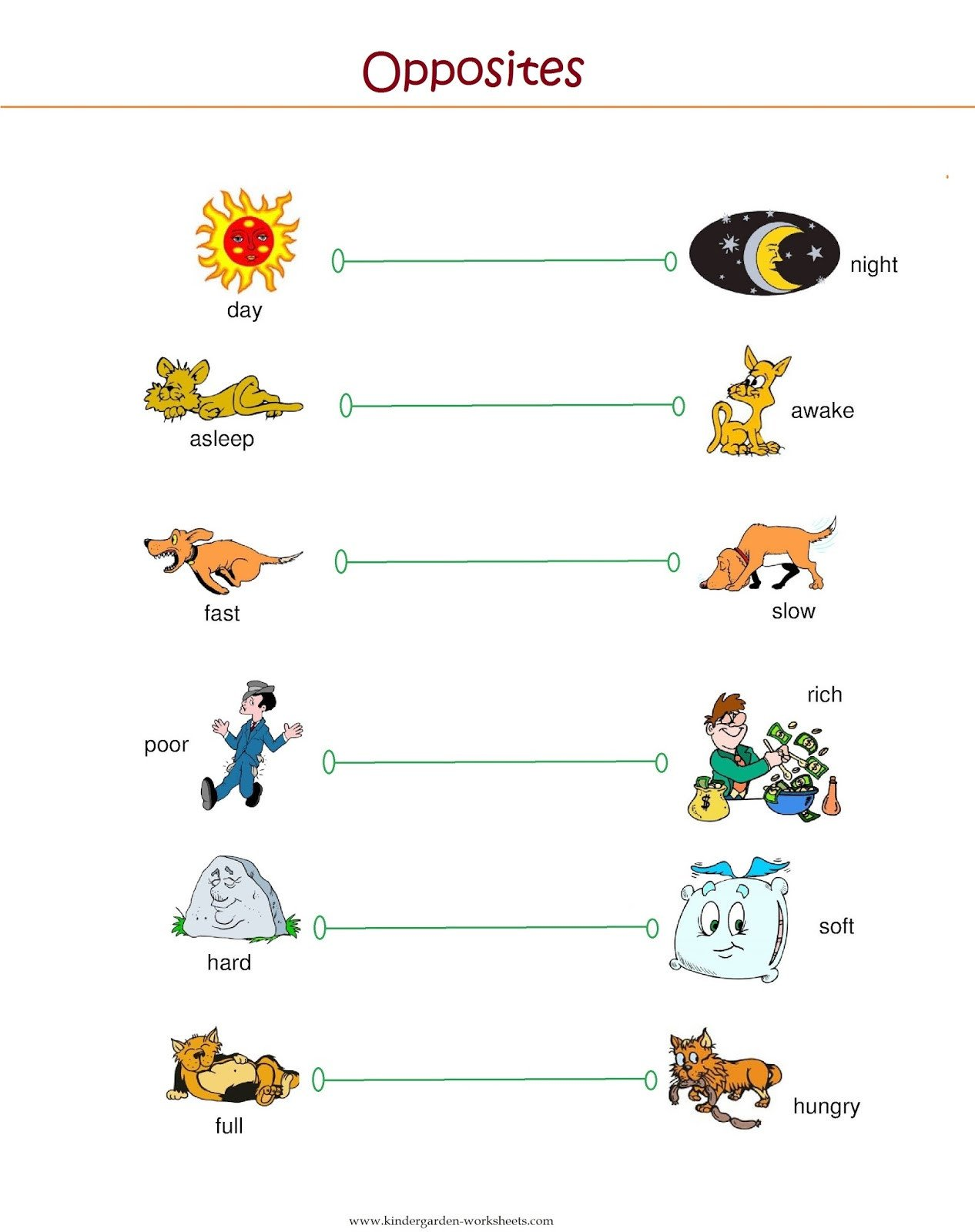 Opposites Worksheet for Preschool Kindergarten Worksheets Kindergarten Worksheets Opposite Words