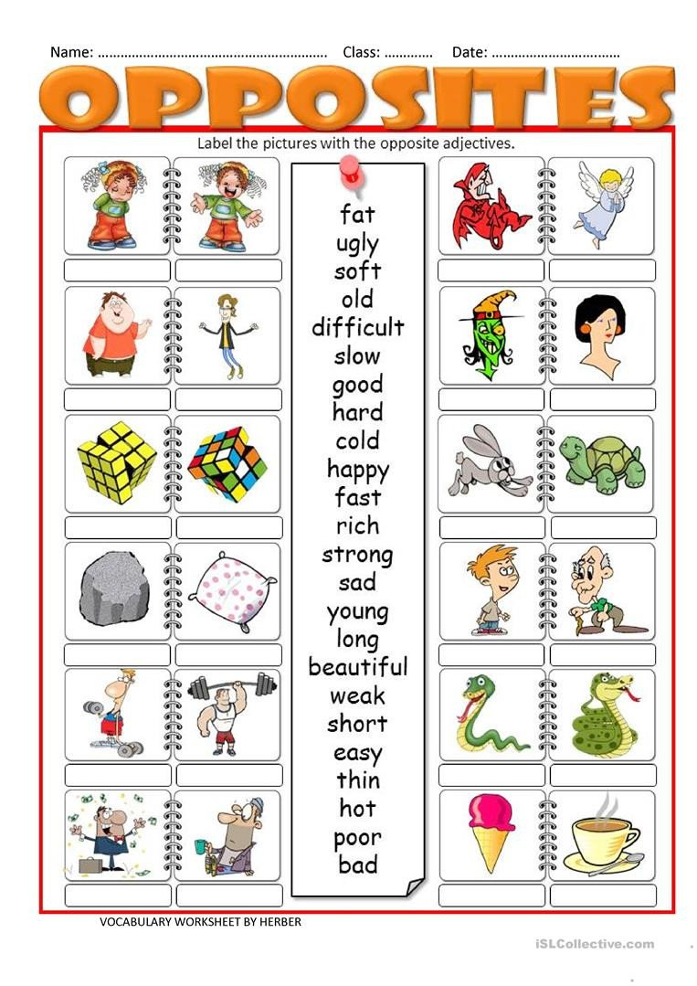 Opposites Worksheet for Preschool Opposites Lessons Tes Teach