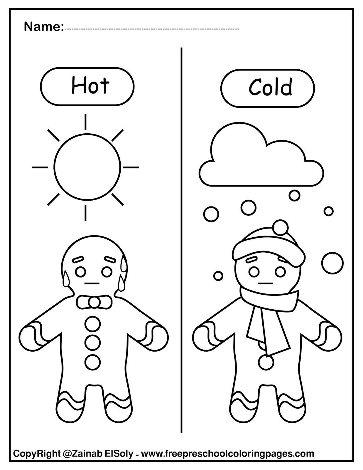 11 gingerbread man opposites for kids free preschool coloring pages free printable christmas new year activity for kid hot and cold 01